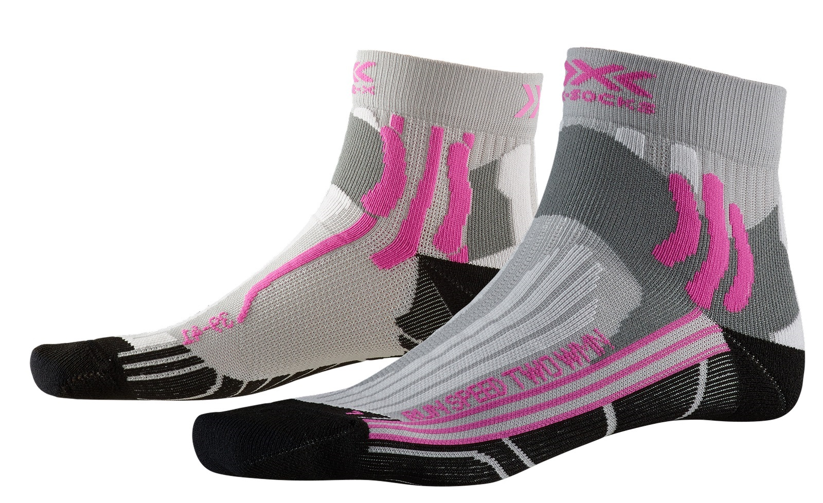 XSOCKS  SPEED TWO GRISE ET ROSE  Chaussettes running xsocks