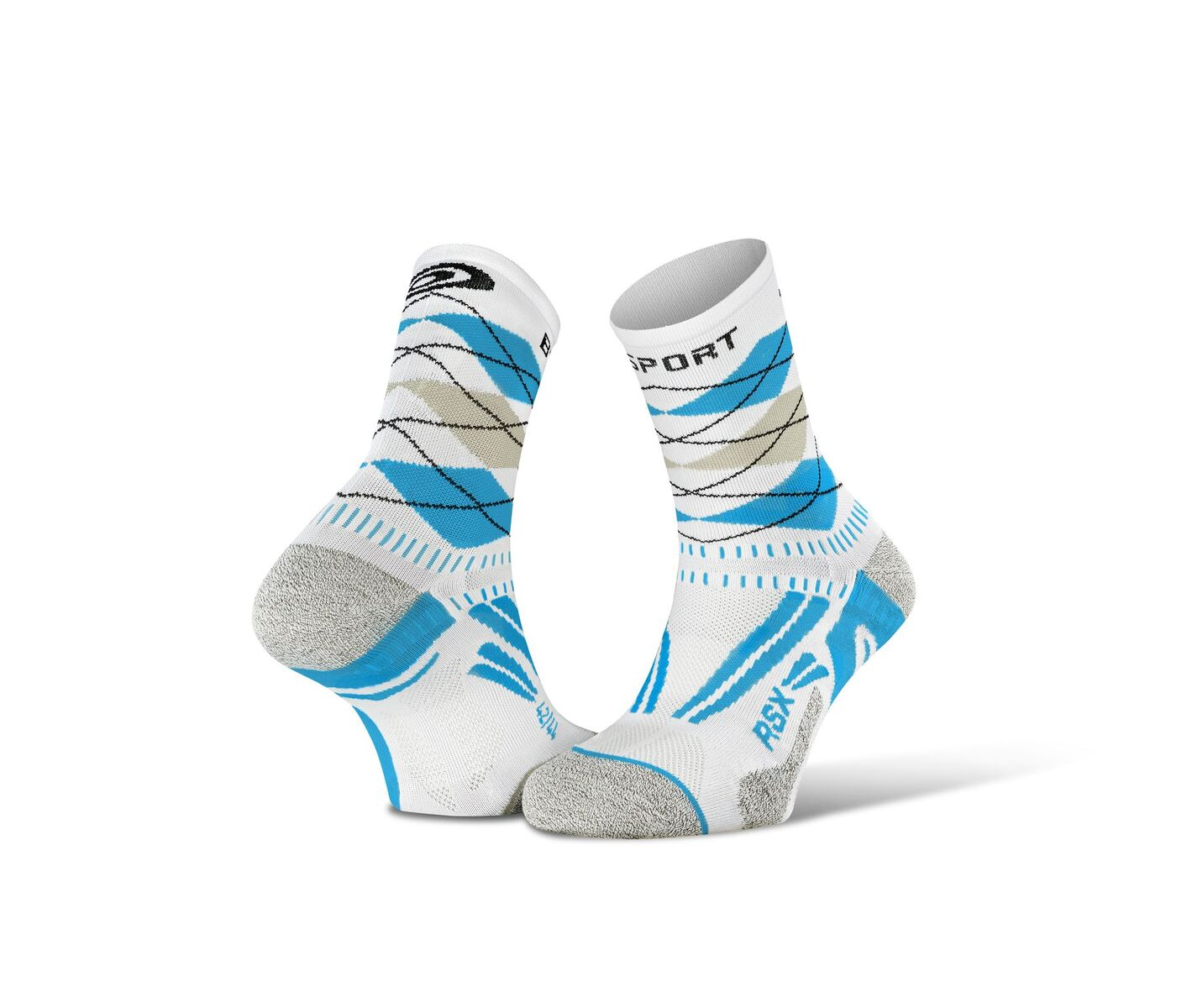 BV SPORT SOCQUETTES RSX EVO BLANCHES ET BLEUES Chaussettes Running BV Sport