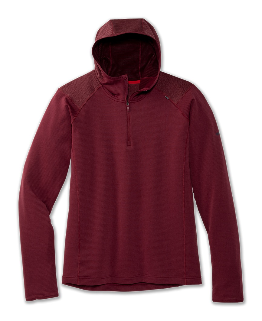 BROOKS NOTCH THERMAL HOODIE MERLOT  Maillot manches longues chaud